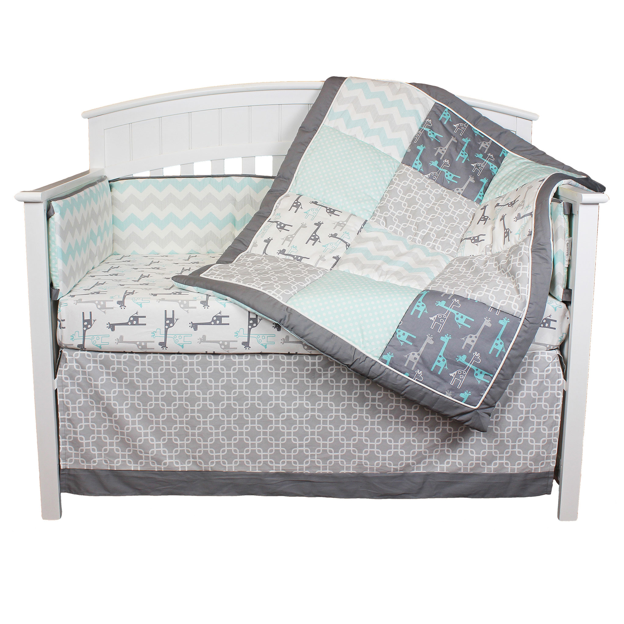 The Peanut Shell Crib Bedding Set - Grey and Aqua - Uptown Giraffe 5 Piece Baby Bedding Collection with Bumper