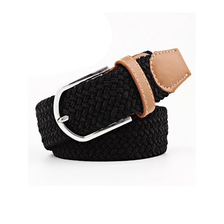 JVOGGY Unisex Braided Elastic Stretch Belt Leather Tipped End and Silver Metal Buckle ()