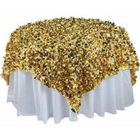 "Metallic Floral Sheeting Overlay, 54"", Gold"