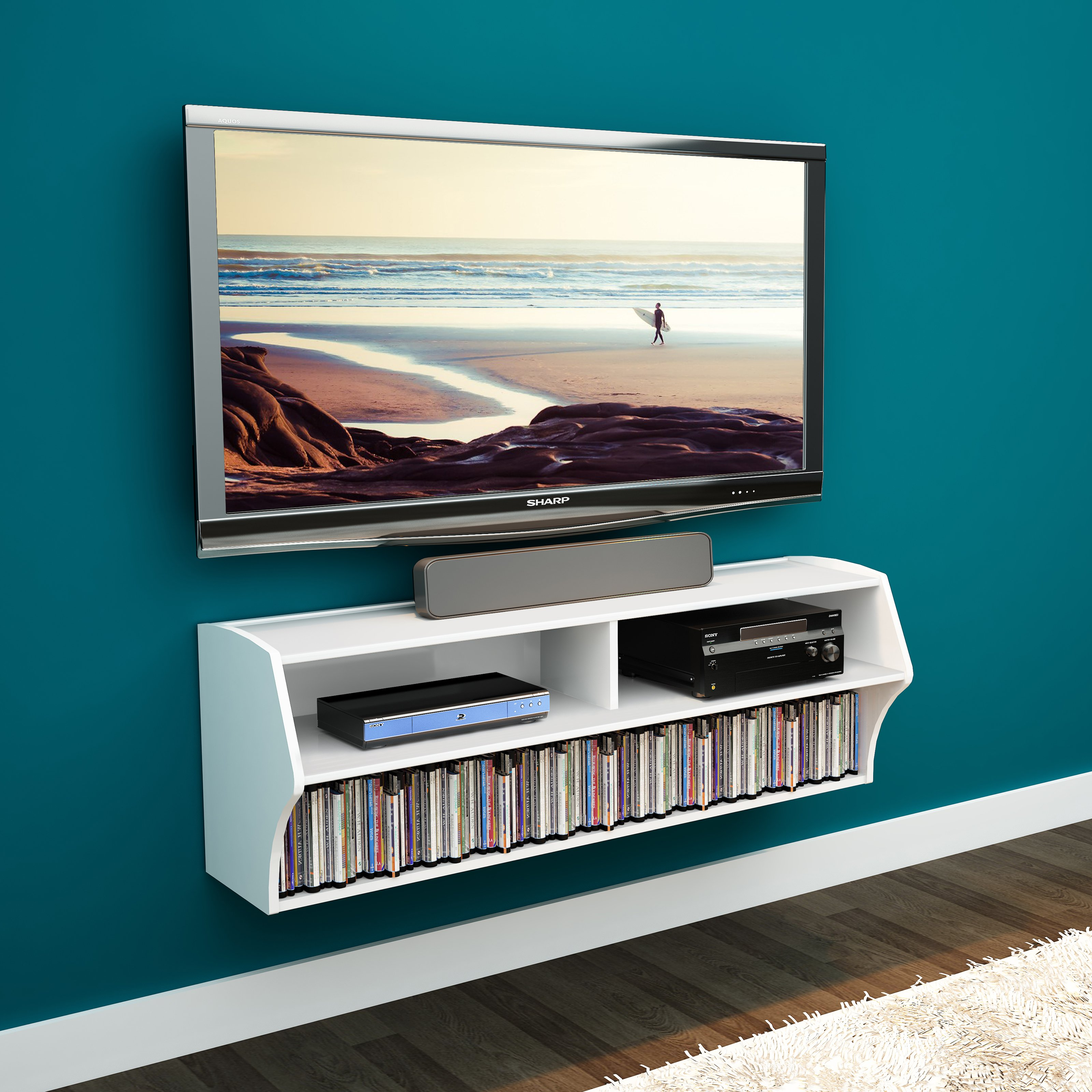 Prepac Altus Wall Mounted A V TV Stand, Multiple Finishes by Prepac