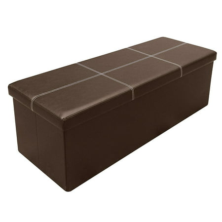 Otto & Ben 45 Inch Line Design Memory Foam Folding Storage Ottoman Bench with Faux Leather ()