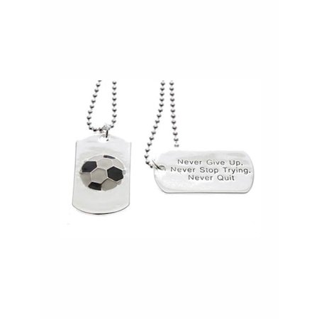Soccer Dog Tag Never Give Up Necklace, 24 inch ball chain - Soccer Necklaces