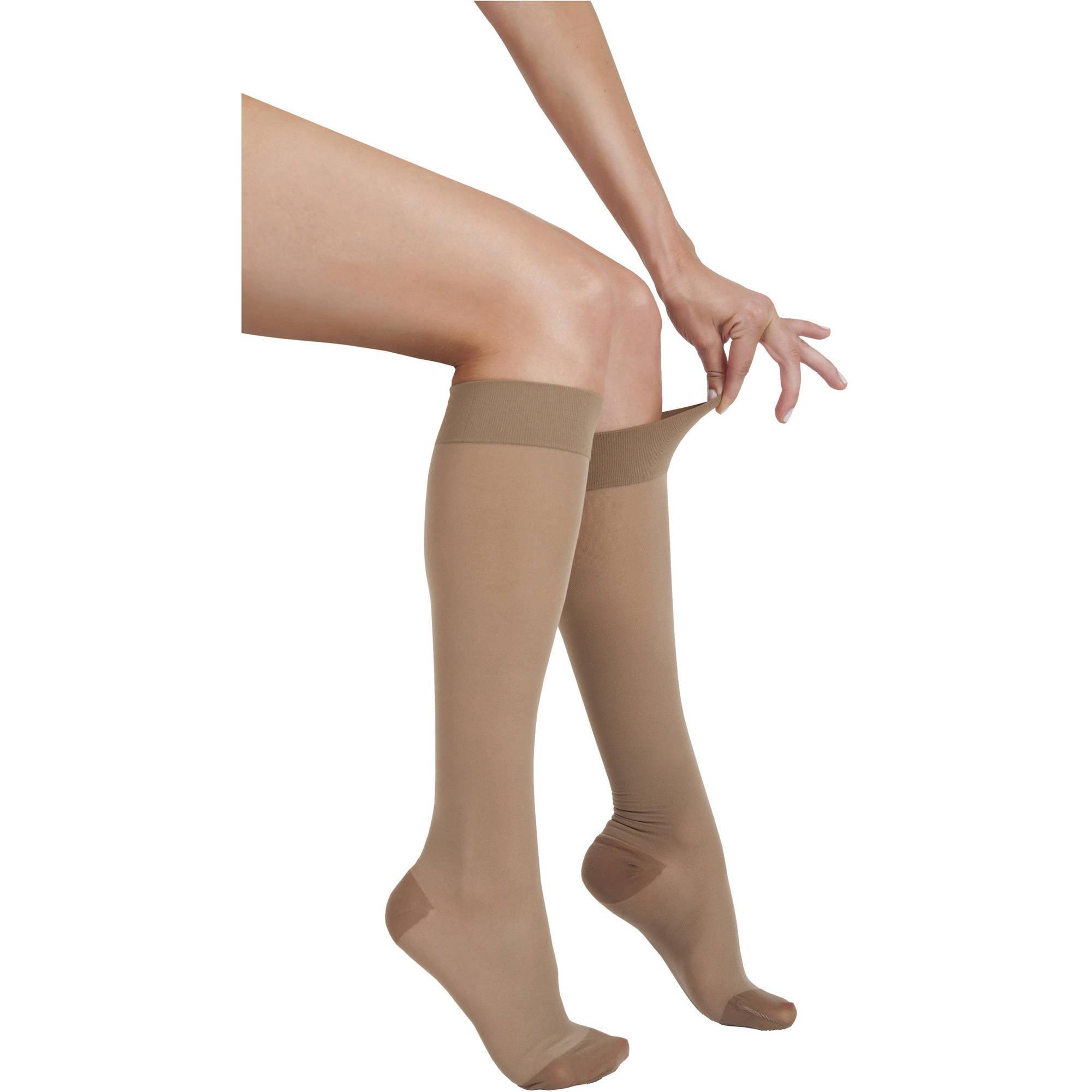 Large Beige 23-30 mmHg Compression ITA-MED Sheer Knee Highs