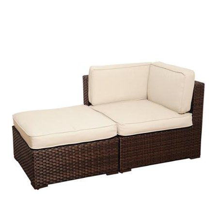 Atlantic  Modena 2 Piece Brown Wicker Seating Set With Off White Cushions