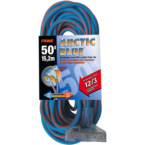 Prime Ultra Heavy Duty 50-Foot Triple Tap Arctic Blue All-Weather TPE Extension Cord