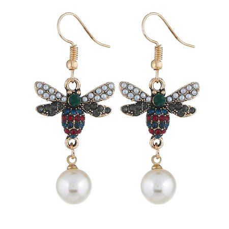 Ustyle Women Bee Rhinestone Imitation Pearl Earrings Female All-match Metal Ear Hook Gift Lady Dangle Drop - image 1 of 7