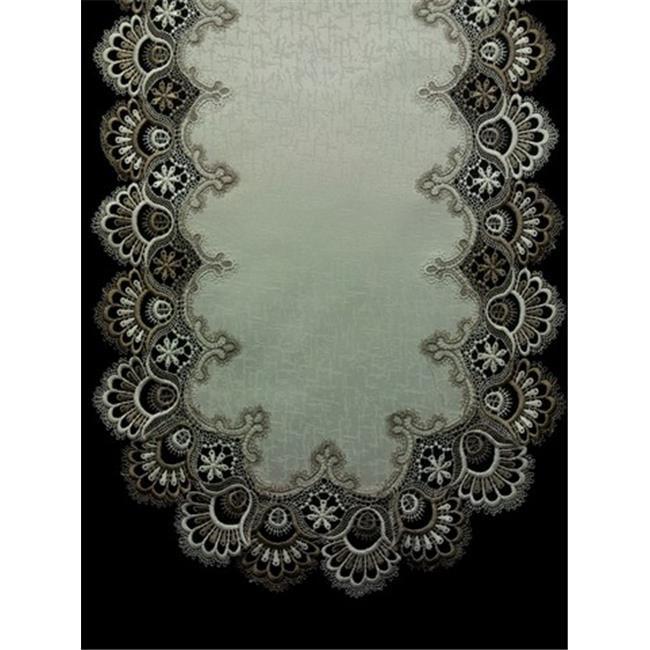 Sinobrite H8139 Ff Cocoa Lace Oblong Table Cloth 69 X 104
