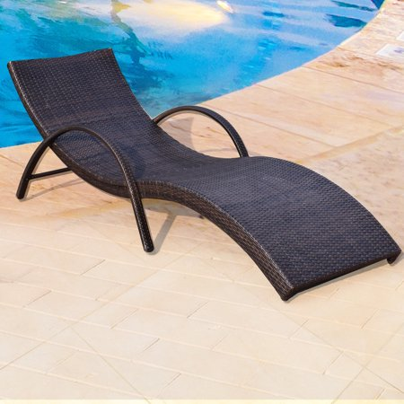 Adeco Trading Brown Wicker Lounger Lounge Chair