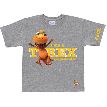 Personalized Dinosaur Train Proud T-Rex Gray Toddler Boy T-Shirt (Dinosaurs Size Chart)