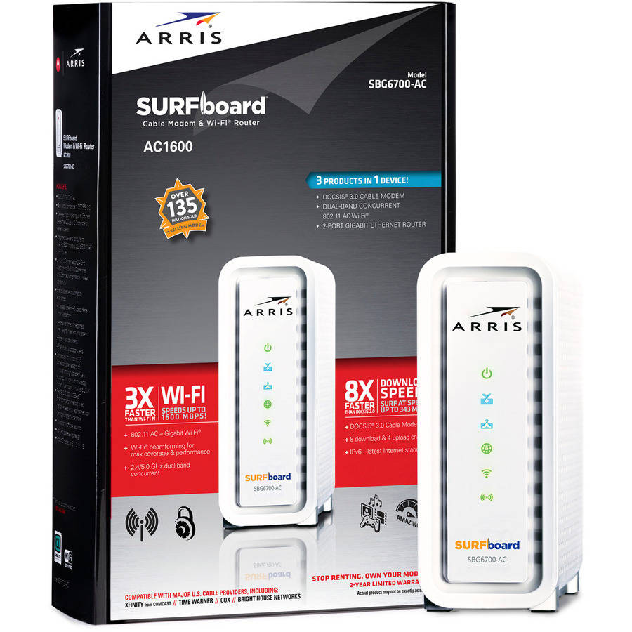 ARRIS SURFboard SBG6700AC DOCSIS 3.0 Wireless Cable Modem/ AC1600 Wi-Fi Router