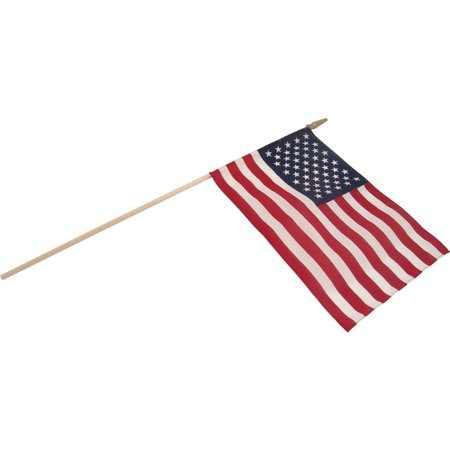 US Stick Flag 12in x 18in Standard Wood Stick with Spear Tip - - 18in Wood