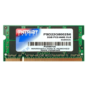Patriot Memory Signature 2GB DDR2 800MHz PC2-6400 SODIMM Memory Module, PSD22G8002S
