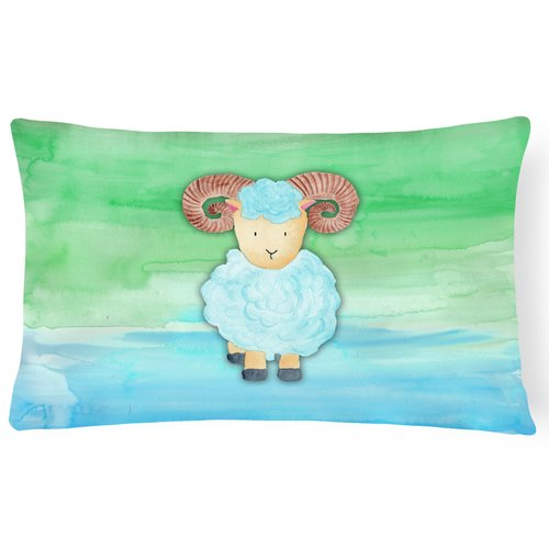 Zoomie Kids Trista Ram Sheep Watercolor Lumbar Pillow