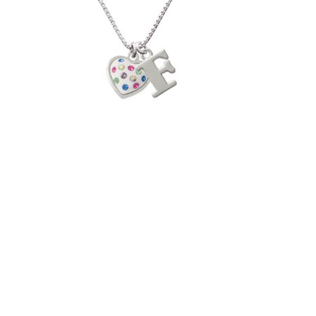 Silvertone White Resin Heart With Spring Crystals Capital Initial F Necklace