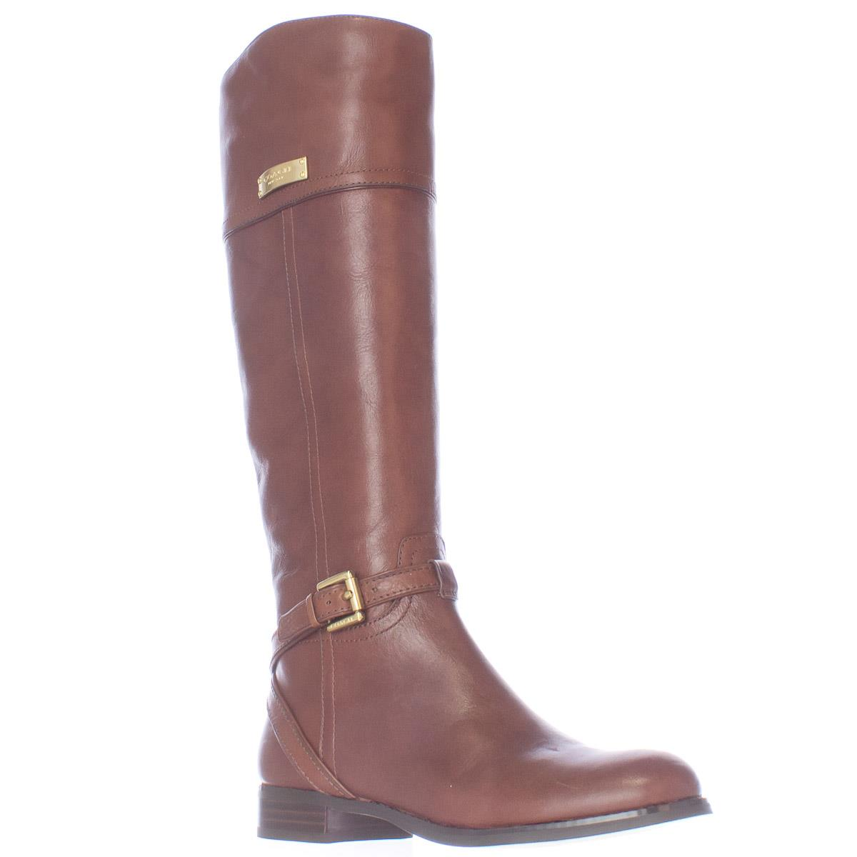 Womens Coach Micha Buckle Strap Riding Boots - Chestnut