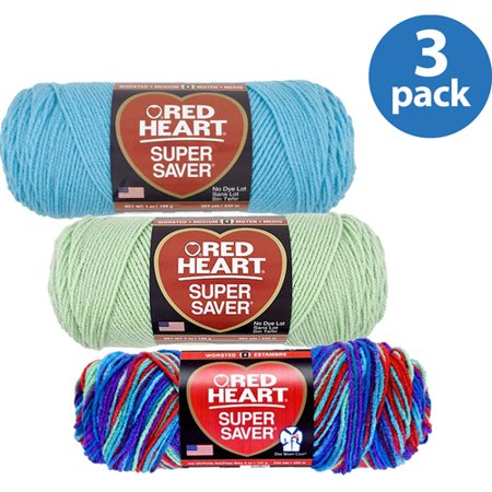 Red Sequin Heart - Red Heart Super Saver Yarn Your Choice 3 Pack Bundle