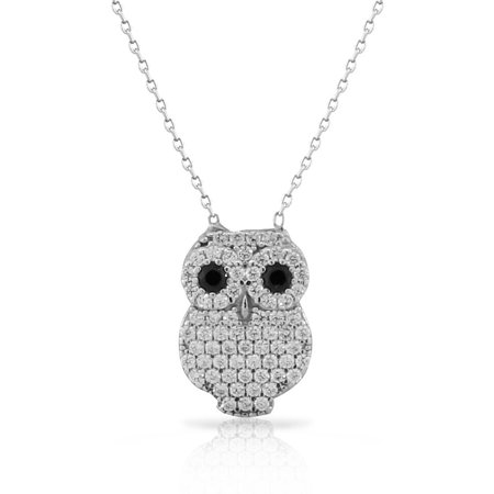925 Sterling Silver White Black CZ Owl Pendant Necklace with Chain