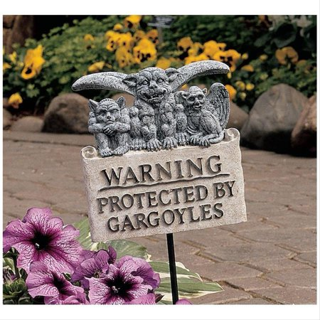 Posted: Beware of Gargoyles Sign - Gargoyle Feet