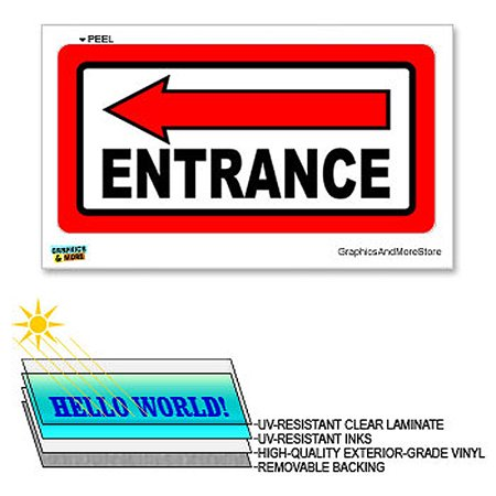 Laminated Sign Sticker - Entrance Left Arrow - 12 in x 6 in - Laminated Sign Window Business Store Sticker