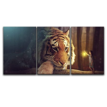 wall26 - 3 Panel Canvas Wall Art - Dreamlike Giant Tiger Head and a Girl Holding a Lamp - Giclee Print Gallery Wrap Modern Home Decor Ready to Hang - 24