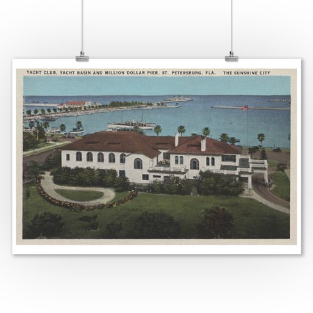 St. Petersburg, Florida - Aerial of Yacht Club & Pier (9x12 Art Print, Wall Decor Travel Poster) ()
