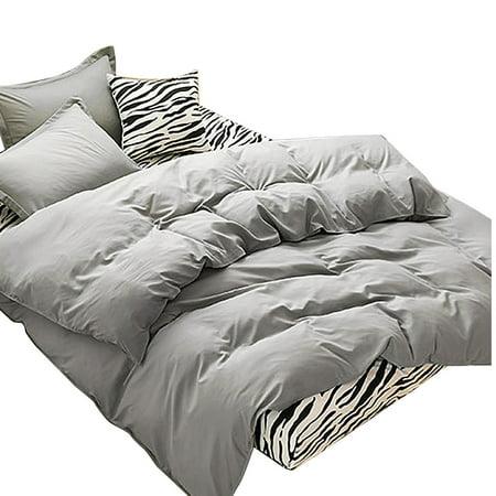 Bedroom Duvet Quilt Cover Pillowcase Bedding Set Bedclothes Gray Super King Size