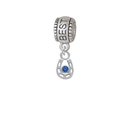 Mini Horseshoe with Blue Crystal - Best Friend Charm