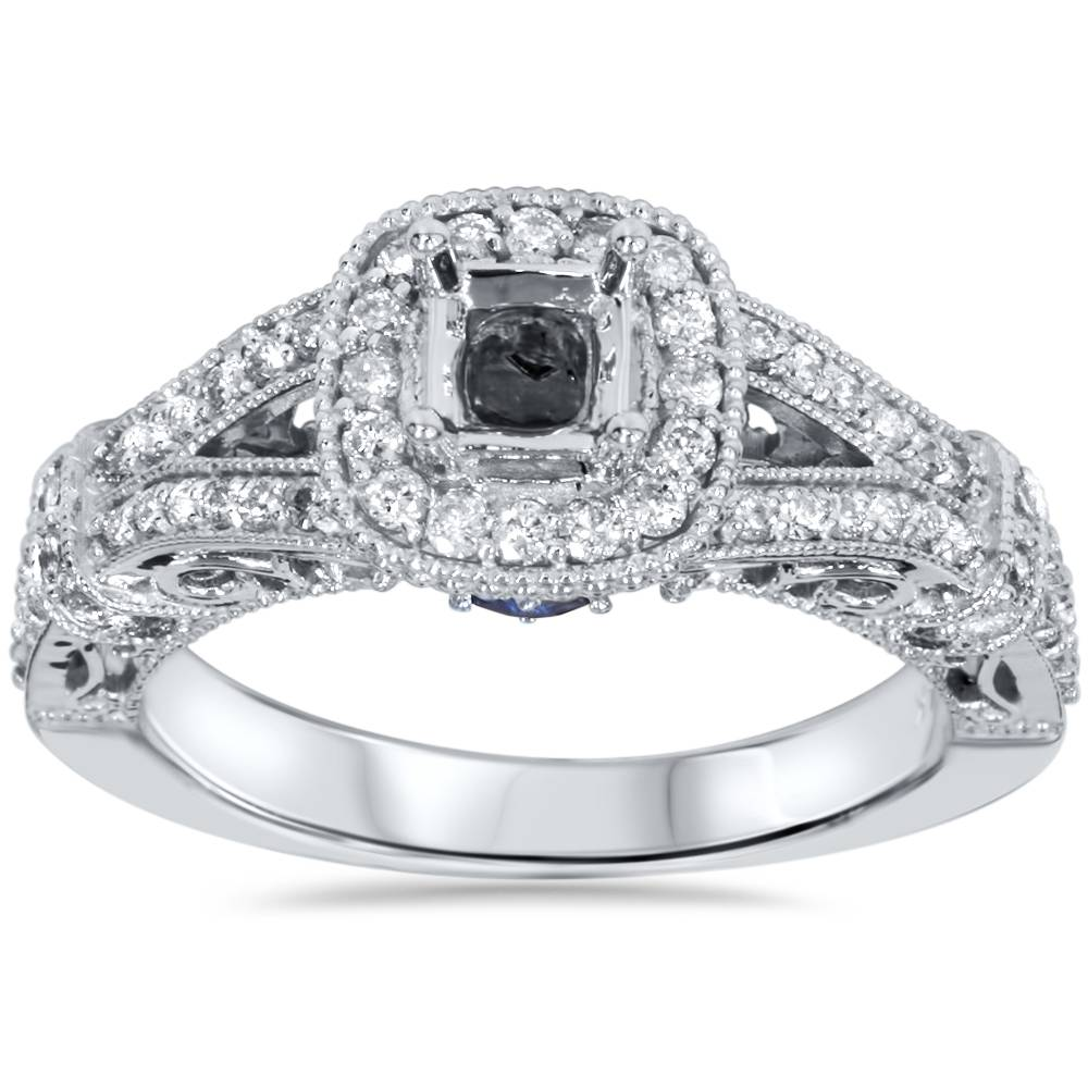 3/4ct Princess Cut Vintage Halo Diamond Engagement Ring Setting 14K White Gold - image 4 de 4