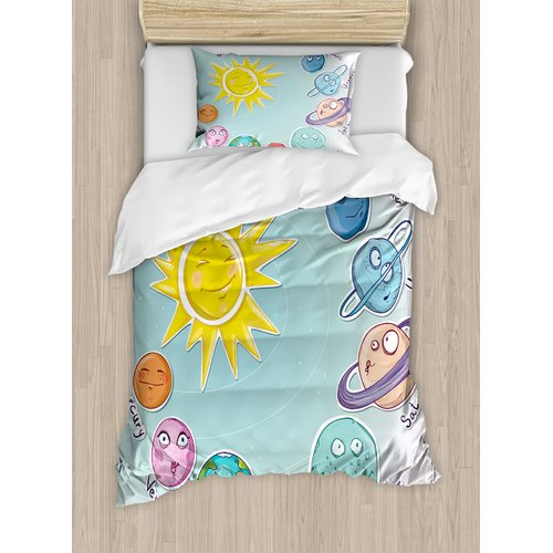 Ambesonne Space Cute Cartoon Sun and Planets of Solar System Duvet Cover Set