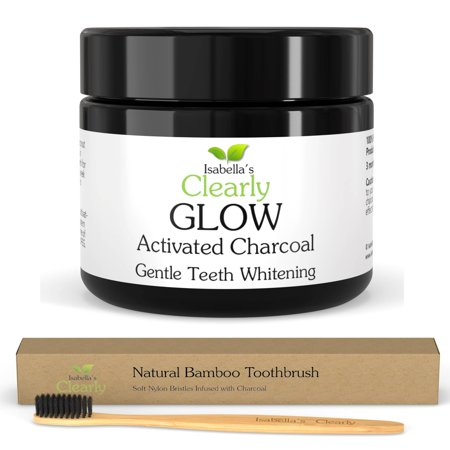 Isabella's Clearly GLOW -  Teeth Whitening Activated Charcoal + Bamboo Toothbrush (3 months supply). 100% Natural Non-GMO with No Additives.](Glow In The Dark Teeth)