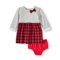 Wonder Nation Baby Girl Plaid Dress With Diaper Cover