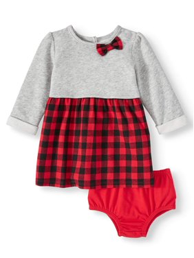 Wonder Nation Plaid Dress With Diaper Cover (Baby Girls)