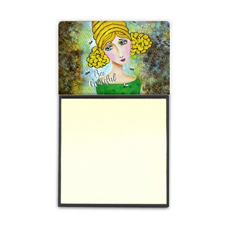 Bee Grateful Girl with Beehive Sticky Note Holder