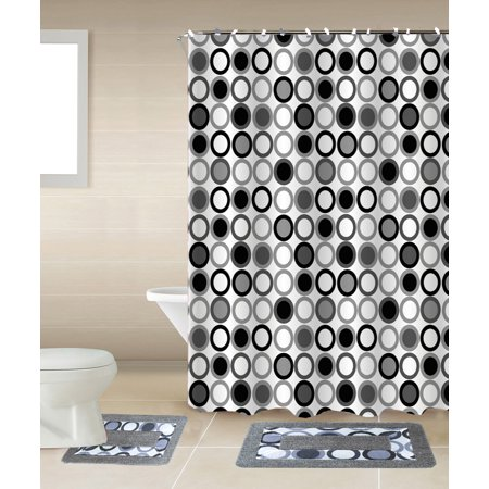 Mitosis 15-piece Circles Bathroom Accessories Set Rugs Sower Curtain & Matching Rings Black White &