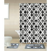 Mitosis 15-piece Circles Bathroom Accessories Set Rugs Sower Curtain & Matching Rings Black White & Gray