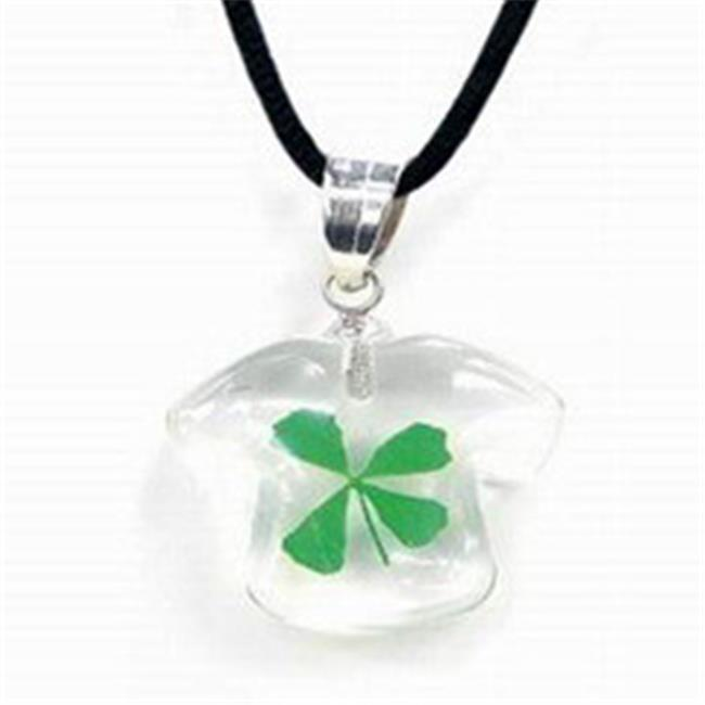 Ed Speldy East SHN103 Shirt Pendant with Real Shamrock in Clear Acrylic
