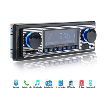 Bluetooth Vintage Car FM Radio MP3 Player USB AUX Classic Stereo Audio