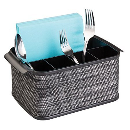 Mdesign Silverware Flatware Caddy Organizer For Kitchen Countertop Storage Dining Table Black