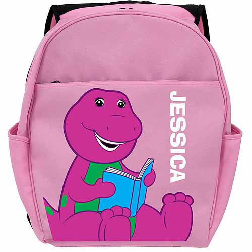 Personalized Barney Reading Pink Backpack