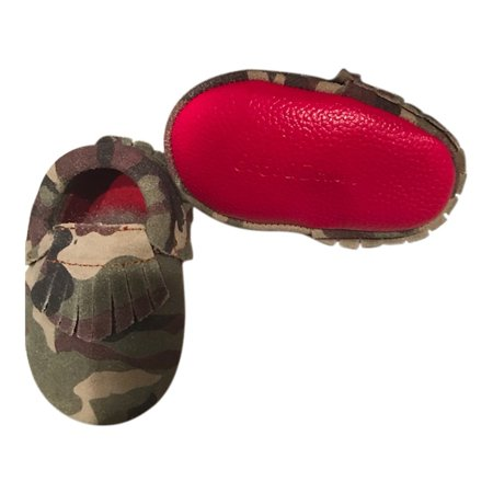 Baby Girls Camo Red Soft Sole Suede Exotic Moccasin Crib Shoes 3 18M