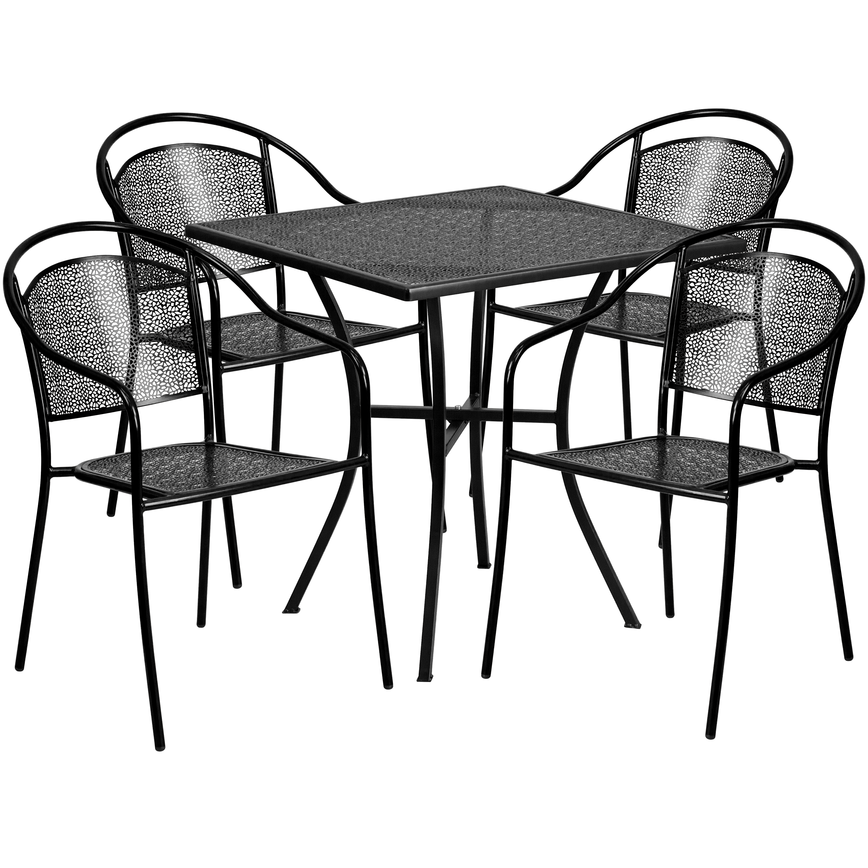 "Flash Furniture 28"" Square Indoor-Outdoor Steel Patio Table Set with 4 Round Back Chairs, Multiple Colors"