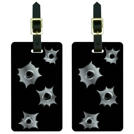 Bullet Holes Rifle Gun Ammo Luggage Tags Suitcase Carry-On ID, Set of 2