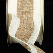 """Natural Tan & Creamy Ivory Wired Fine Burlap Craft Ribbon 3"""" x 20 Yards"""
