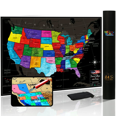 Large Color Poster (Novelty Place Scratch off Map of The US with States and Flags - Travel Tracker Map Poster - Complete Scratcher Kit Included - Large Size 24