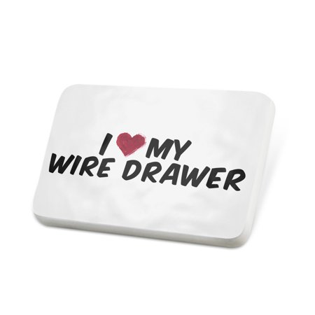 Porcelein Pin I heart love my Wire Drawer Lapel Badge – NEONBLOND