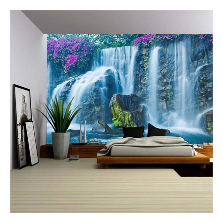 wall26 - Beautiful Blue Waterfall in Hawaii - Removable Wall Mural | Self-Adhesive Large Wallpaper - 66x96 inches ()