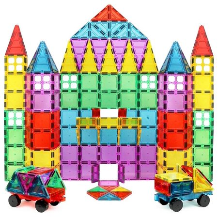 Click N' Play Magnet Build Deluxe 100 Piece 3D Magnetic Tile Building Set Extra Strong Magnets and Super Durable Tiles, Educational, Creative, Assorted Shapes and Vibrant Bright Colors