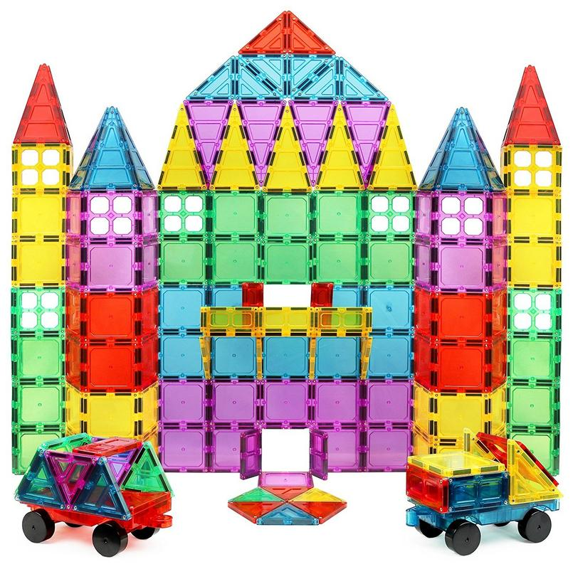 Magnet Build Deluxe 100 Piece 3D Magnetic Tile Building Set Extra Strong Magnets and Super Durable Tiles, Educational, Creative, Assorted Shapes and Vibrant Bright Colors