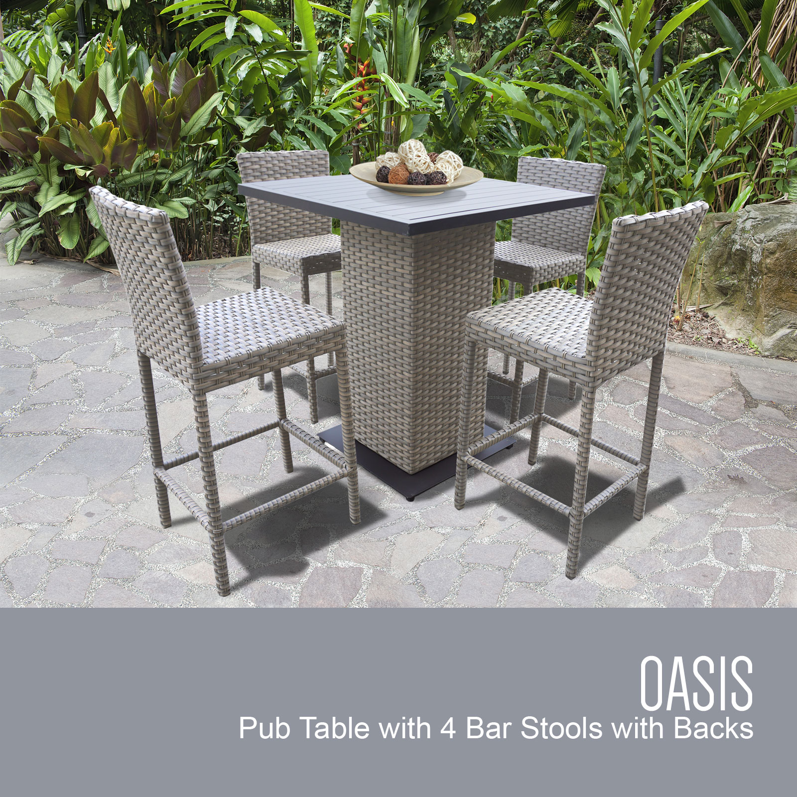 Oasis Pub Table Set With Bar Stools 5 Piece Outdoor Wicker Patio Furniture-Color:Grey Stone by TK Classics