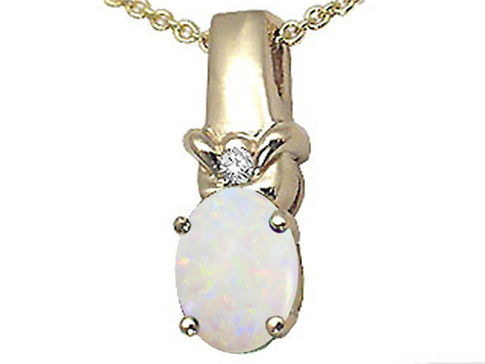 Tommaso Design Oval 8x6 mm Genuine Opal Pendant Necklace by